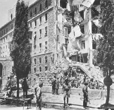 عصابة الأرغون بقيادة مناحيم بيغن تفجر مقر الحكومة البريطانية 1946