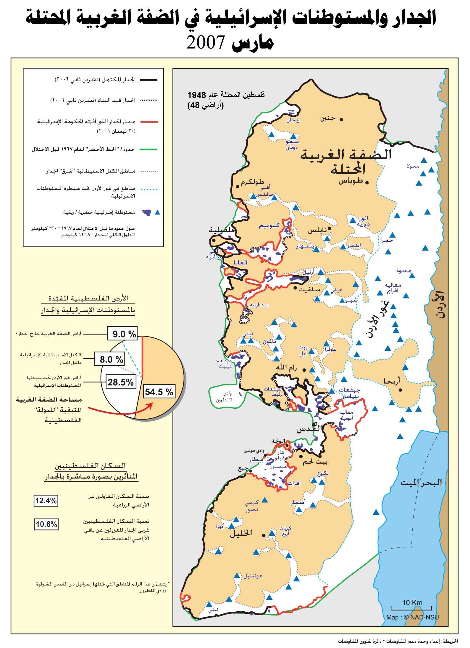 الجدار العازل والمستوطنات الإسرائيلية - 2007