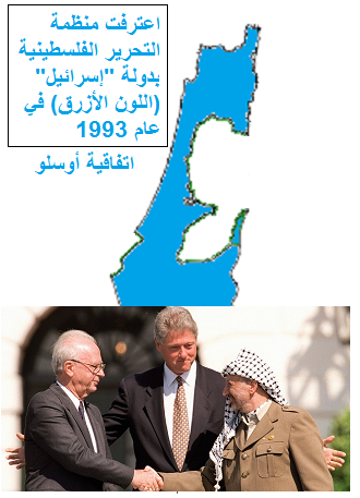 تعترف منظمة التحرير بقيادة فتح بدولة اسمها إسرائيل - اتفاقية أوسلو 1993