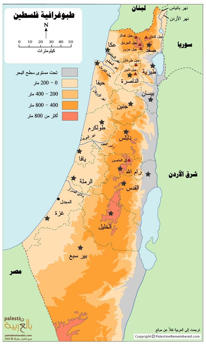 طوبوغرافية فلسطين