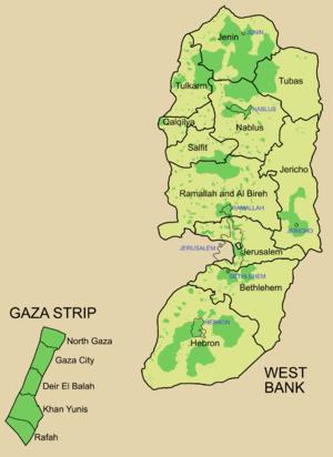 اللون الأخضر - مناطق نفوذ السلطة الفلسطينية