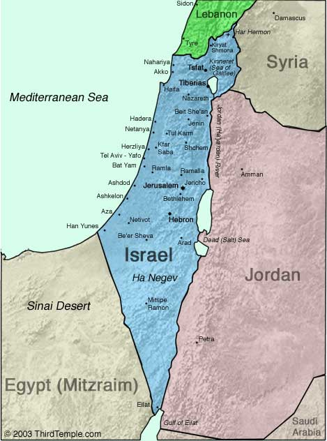 خريطة إسرائيل كما تراها إسرائيل