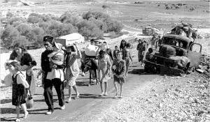 فلسطينيون يهاجرون من الجليل عام 1948 بسبب الاحتلال الصهيوني لفلسطين