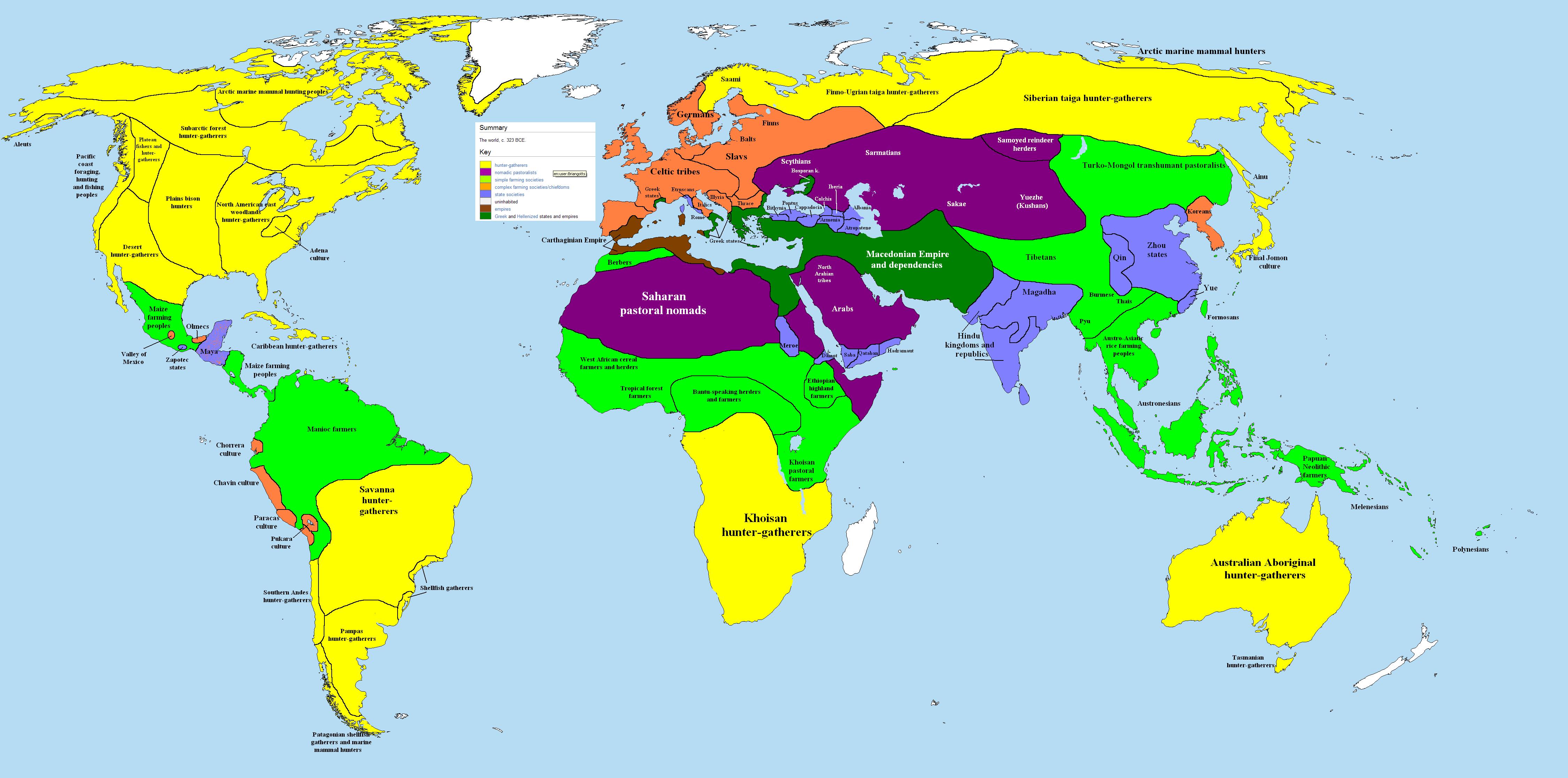 خريطة العالم: 323 قبل الميلاد