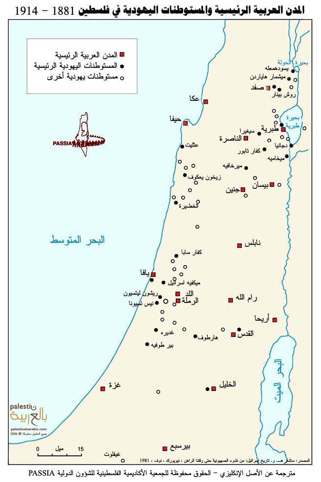 المدن الفلسطينية والمستوطنات اليهودية بعد بدء هجرة اليهود المكثفة إلى فلسطين 1881-1914