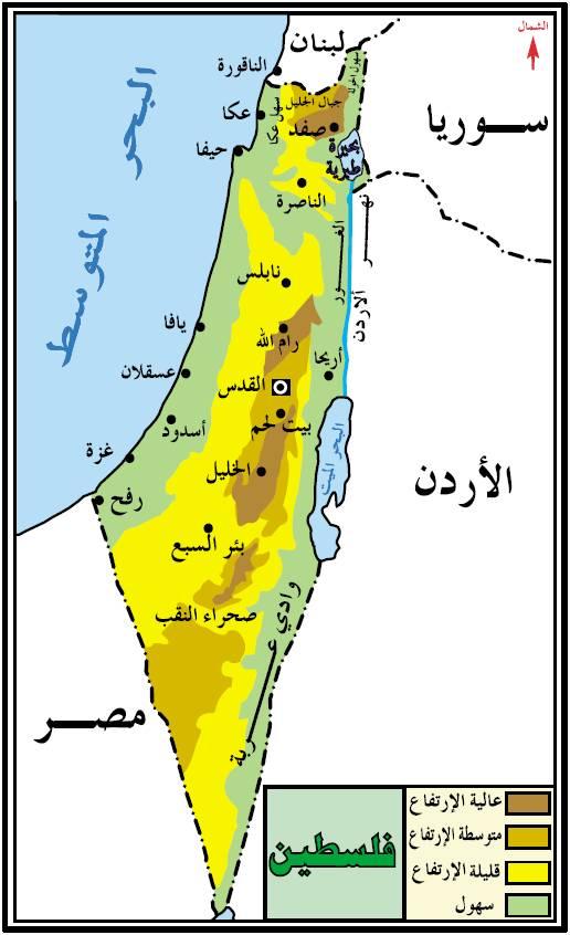 أرض فلسطين حسب الارتفاع